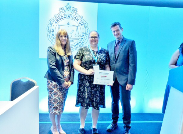 Gemma Purver receiving 1st place alongside Tess Fenn, APTUK and Chris Steng, Helapet Ltd